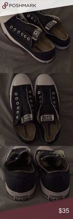 NWOT Blue Converse Laceless Shoes New without tags navy converse slide on shoes size 9 Converse Shoes Sneakers