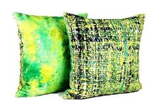 Yellow and Green Soft Velvet Pillow Cover Abstract Wool Print