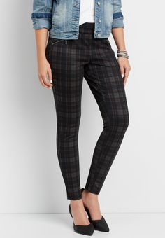 the ankle skinny plaid pull on pant with faux zipper pockets (original price, $39.00) available at #Maurices
