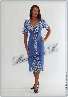 Платье Метелица - синий,кружево,ирландское кружево,ирландское вязание