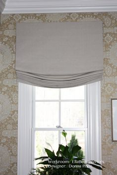 Custom Relaxed Roman Shade With Center Pleat Tails And