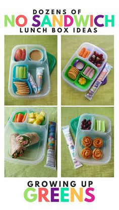 Here you'll find links to our dozens of No Sandwich Lunch Box ideas! Lunch ideas for kids that don't like sandwiches from Lunchbox Blogger and Mom, Sarah of Growing Up Greens!