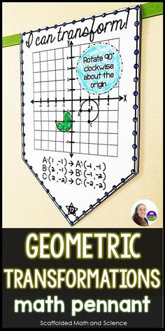 """Students translate, rotate, reflect and dilate geometric figures in this activity that doubles as a way to display student work. Once a pennant is complete, it can be hung along a string in your classroom to show the world that, """"Hey, we know how to transform geometric figures!"""" Transformations Math, Geometric Transformations, Teaching Geometry, Teaching Math, Math Classroom Decorations, Classroom Ideas, Reflection Math, Math 8, 8th Grade Math"""