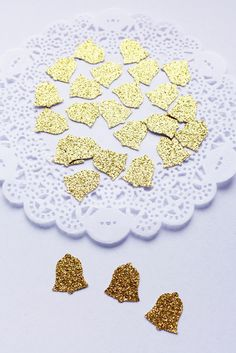 Gold Wedding Bell, Glitter Bell Confetti by AthenasCraftRoom on Etsy #CardstockConfetti #Birthday #DieCuts #weddingbell #glitterconfetti #gold