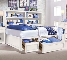 Lea Industries Elite - Reflections Full Bookcase Platform Bed with Underbed Storage - AHFA - Bookcase Bed Dealer Locator Bookshelf Headboard, Bookcase Bed, Bookcase Storage, Kids Bookcase, Childrens Bookcase, Storage Drawers, White Bedroom Set, White Bedroom Furniture, Bedroom Decor