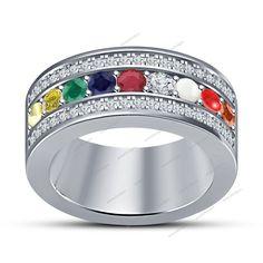 .925 Sterling Silver Multi-Color Cubic Zirconia Navratna Wedding Band Ring 5 6 7…