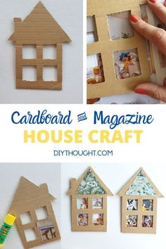 Cardboard & Magazine House Craft - diy Thought - - Cardboard & Magazine House Craft. Take a cardboard box, cut out a house and then add in magazine clipping. A fun craft for kids of all ages. Recycled Crafts Kids, Fun Crafts For Kids, Craft Activities For Kids, Toddler Crafts, Projects For Kids, Diy For Kids, Preschool Crafts, Diy Projects, Cardboard Box Crafts