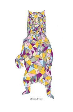 ursus arctos [brown bear] #print #illustration #animal #bear #geometric #purple #yellow #etsy