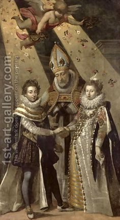 LOUIS XIV PARENTS - The marriage of Louis XIII, King of France and Navarre, and Anne of Austria. They are 14 years old.