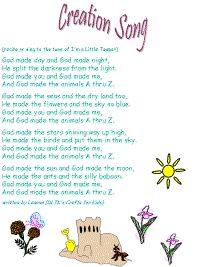 "Creation song color poster -(sing to the tune of I'm a Litle Teapot) -""God made you and God made me, and God made the animals A thru Z."""