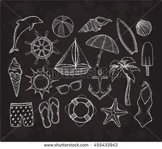 Sketch of summer objects. Vector illustration in vintage style. Beach Doodles…