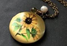Sunflower Necklace. Sun Flower Locket Necklace. Sunflower Locket. Bronze…