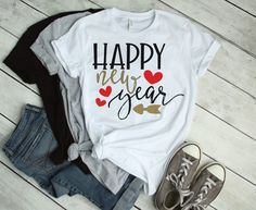 New Years Shirts, Silhouette Cameo Files, Affinity Designer, Cricut Ideas, Planner Stickers, Happy New Year, Eve, Decals, Printables