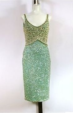 Gene Shelly Boutique Vintage Aqua Beaded and Sequined 1960s Wiggle Dress