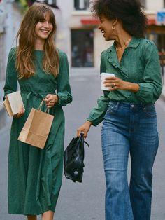 Retro Fashion, Vintage Fashion, Womens Fashion, French Women Fashion, 2000s Fashion, Fall Fashion Trends, Autumn Fashion, Belle Epoque, Green Long Sleeve Dress
