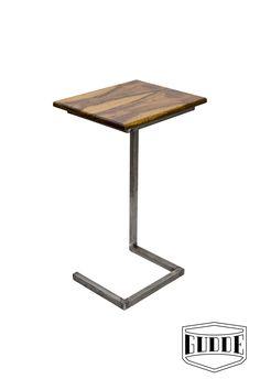 Modern Escher Sofa Table with Raw Steel base. Handmade in Austin TX by Gudde Co.