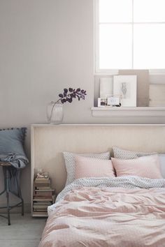 A beautiful pink and grey bedroom via h&m
