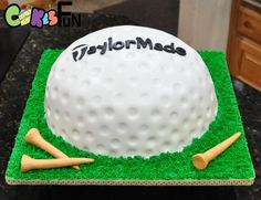 Carved 3 layer cake covered with fondant and textured. Cake board decorated with buttercream frosting using the grass tip. golf cake concepts Birthday (This is an affiliate link) You could get more information by clicking the picture. Golf Themed Cakes, Golf Birthday Cakes, Dad Birthday, Golf Cake Toppers, Golf Ball Cake, Golf Cookies, Fathers Day Cake, Sport Cakes, Beach Cakes