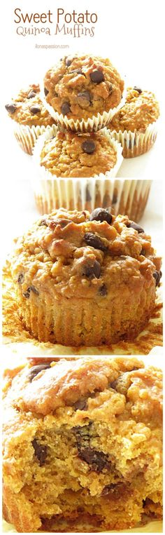 Quinoa muffins with sweet potato, cinnamon and chocolate chips!
