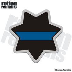"Ten THIN BLUE LINE POLICE REFLECTIVE  3/""x 4/"" DECALS 10 POLICE BLUE LINE DECALS"
