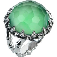 Stephen Webster, Jewels Verne collection, Bonafide Crystal Haze Sea Urchin Large Ring, 18k white gold, green agate, quartz, white and black diamonds