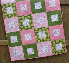 PInk Green White Baby Girl Quilt Handmade Crib by JennyMsQuilts