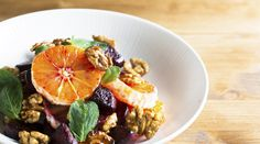 Beetroot and Orange salad with walnuts and mint leaves.