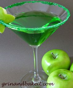 Jolly Rancher Apple-tini    1 oz. vodka  1 oz. DeKuyper's Sour Apple Pucker    1 oz. -2 oz. apple juice    Add ingredients to a shaker filled with ice. Shake and pour. Garnish with an apple. I used a small flower cookie cutter to make an apple cutout. (I added a drop of green food coloring to this.)
