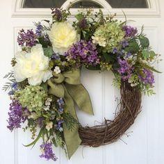 Spring Wreath-Hydrangea Wreath-Spring Door Wreath-Wedding Wreath-Summer Wreath-French Country Wreath-Easter Wreath-Mother's Day Wreath - Modern Spring Door Wreaths, Easter Wreaths, Summer Wreath, Wreaths For Front Door, Wreath Crafts, Diy Wreath, Grapevine Wreath, Wreath Ideas, Diy Crafts