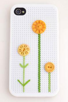 Cross Stitch iPhone 4 & 4S Case - Button Flower. $18.00, via Etsy.