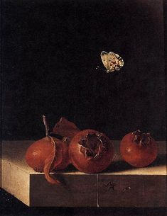 Adriaen Coorte  Still Life with Three Medlars and a Butterfly (c. 1696-1705)