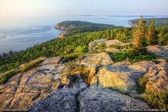 View of Otter Cliff from Gorham Mountain Summit. Gorham Mountain, Acadia National Park, ME