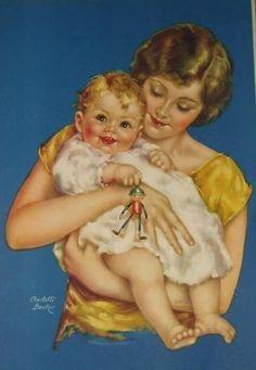 Illustration by Charlotte Becker Vintage Pictures, Vintage Images, Vintage Posters, Baby Images, Baby Pictures, Charlotte, Baby Illustration, Baby Prints, Mother And Child
