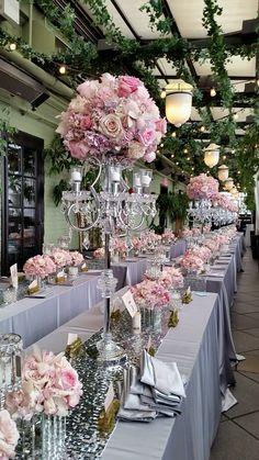#gramercypark  Crystal candelabras, grey silk linens, pinks, creams with a touch of birch. #enchantedwedding