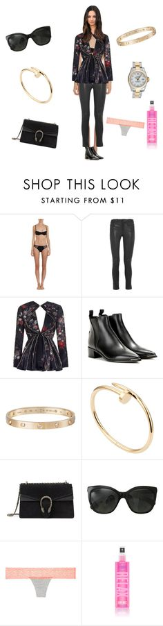 """""""Untitled #1808"""" by rine23 ❤ liked on Polyvore featuring Cosabella, Frame Denim, Zimmermann, Acne Studios, Rolex, Cartier, Gucci and Chanel"""