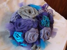 Custom Purple Burlap Wedding Bouquet by BouquetsByKeepsakes, $50.00