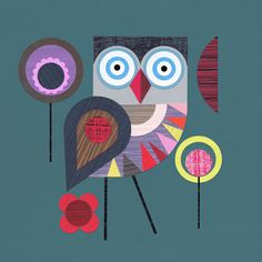 Ellen Giggenbach cool 70's scandi folk art illustration style print of an owl, great use of colour block and pattern like a collage would work as a block or screen print