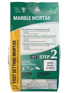 Use Marble Mortar to install marble tile on floor or wall. Available at Lowes. DIY or hire a pro.