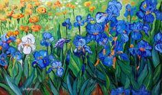 """Cu inspirație din lumea lui Van Gogh, îndrăznim azi să zicem un curajos: """"Iată!"""" Parcă e viu tabloul acesta, cu adevarat fermecător prin ale lui culori. Sunt valuri ... valuri de flori, valuri de pete colorate. Mă uit la albastru ... apoi la irisul alb, la cele portocalii din depărtare ... e plin cu ele câmpul, îl privesc ca tot și pe bucăți, oricum l-aș """"judeca"""", răspunsul mi-e doar unul: """"Maestre, ai fi fost mândru!"""" 😆😁 (35cm x 50cm, preț 400 lei, înrămat) Iris, Painting, Painting Art, Paintings, Painted Canvas, Drawings, Bearded Iris, Irises"""