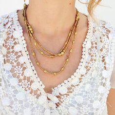 gold wrap necklace, lace top