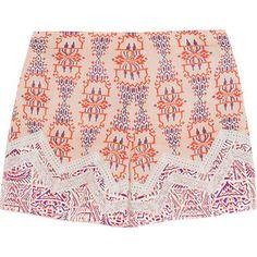 Etro Lace-paneled printed silk-crepe shorts