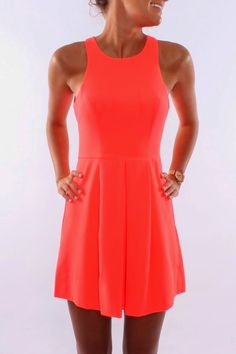 Jean Jail Spinaround Dress Neon Coral