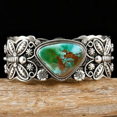 Cuff | Darrell Cadman. Deep green, natural Royston Turquoise and sterling silver. (Navajo)