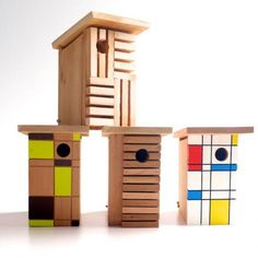 Modern Mondrian birdhouses