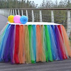 Yunhigh Tutu Tulle Table Skirts for Rectangle & Round Tables Baby Shower Decoration Table Cover Cloth for Birthday Wedding Christmas Parties Decor- Rainbow/Multi-Coloured Reunion Decorations, Birthday Party Decorations Diy, Carnival Birthday Parties, Baby Shower Decorations, Tulle Table Skirt, Table Skirts, Tutu Table, Birthday Balloon Wreath, Festival Wedding