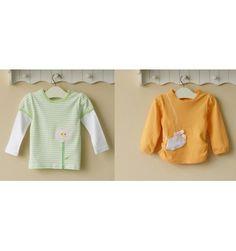 Mom and Bab Girls Longsleevess 2 in 1 - Orange and Green - sadinashop.com  T-shirt atau kaos lengan panjang untuk bayi dan anak perempuan.