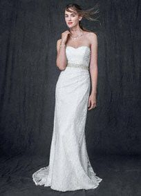 Timeless and elegant, this lace over satin gown is sure to wow as you walk down the aisle.  Sweetheart bodice is feminine and chic.  Side-drape drapeand subtle ruching create a slimand stunning silhoutte.  Lace over satin fabric adds contrast and texture.  Sweep train. Ivory available online and in stores. White available in stores.  Fully lined. Back zip. Imported. Dry clean only.  Also available in Plus sizes,14W-26W, Style 9WG3263,  (special order only).  To preserve ...