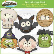 Silly Halloween Heads Clip Art