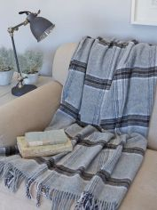Wool Throw - Grey Check