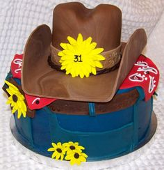 cowboy hat and jeans cake